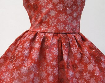 Glittery Snow on Red, Winter and Holiday Dress
