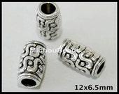 25 Antiqued SILVER 12mm Barrel Beads - 12x6mm w/ Large 3.5mm Hole Tibetan Style Tube  Spacer Boho Nickel Free Metal Bead - USA  - 5080
