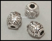 5 Antiqued SILVER 6mm Drum Beads - 6X5mm TIBETAN Style Large 1.5mm Hole Boho Metal Barrel Spacer Beads - USA Wholesale Beads - 5551