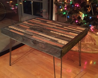 Sale! Free Shipping and Ships Immediately- Beautiful Mosaic Barn Wood Coffee Table with hairpin legs