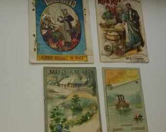 4 Victorian trade cards antique advertising illustrations ephemera old paper art supplies vintage scrap S23