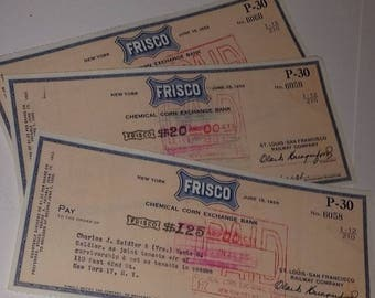 3 Vintage company checks 1950's Frisco Co New York paper ephemera Old canceled  mixed media art scrap supplies
