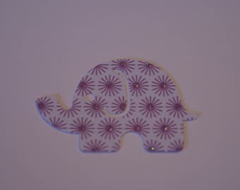 25 Large MOD ELEPHANT paper punch,  2 inch wide x 1.5 white with purple designs, white on back side confetti, scrap booking.
