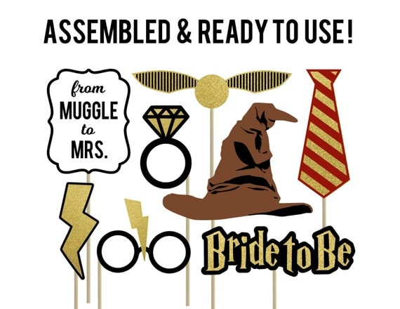 Harry Potter Photo Booth Props . Harry Potter Bachelorette Props . Harry Potter Bachelorette Party . Harry Potter Wedding Props . Set of 8