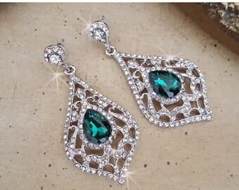 SALE Emerald Chandelier Earrings, Wedding Earrings,  Statement Earrings, Pageant Earrings, Wedding Jewelry, Emerald Earrings,