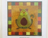 Avocato Cat Quilt Block Pattern, Block 1 Helene Knott, Garden Patch Cats, 18 inch Applique Quilt Block Pattern SQSP HK61
