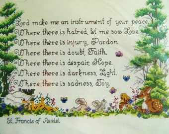 Prayer of St. Francis Counted Cross Stitch Kit, Bucilla 40660, Nature Animal Theme, Inspirational Religious Theme
