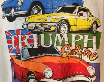 1970s Tee shirt 1973 Triumph Spitfire - signed Illustration XL vintage sports car