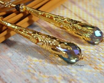 Victorian Steampunk Style Drop Earrings  Vintage Style Earrings  Gold Long Pierced or Clip-on Earrings Victorian Style Jewelry  Gift for Her
