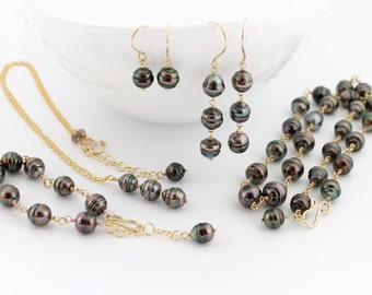 Tahitian pearl set, necklace, long earrings, drop earrings, pendant, bracelet, 5 piece set, saltwater, jewelry, black pearls: Simply Adorned