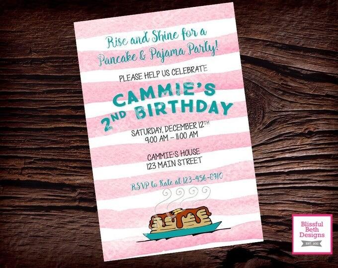PANCAKES AND PAJAMAS Pancake and Pajama Birthday Invitation, Printable Pancake Birthday Invitation, Morning Birthday, Pink Pancakes