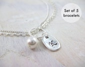 Personalized Bracelets Pearl Bridesmaids Gift Jewelry Initial Charm Wedding Swarovski