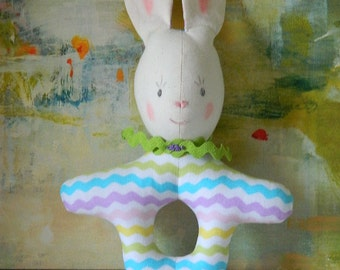 Bunny Toy Rattle - Easter Basket Gift - Infant Toy - Baby Shower Gift - Handmade Toys and Gifts - Baby Noisemaker - Easy to Hold Unisex Toy