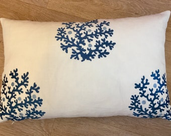 BLUE embroidered, SNOWFLAKE pillow. Blue white linen, cushion cover. Two tone blue, linen embroidered. Blue accent pillow. MoGirl DESIGNS
