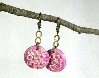 Pink Earrings, Pink Dangle Earrings, Polymer Clay, Pink Handmade Earrings, Pastel Colors, Lightweight Dangle Earrings, Bronze Leverbacks
