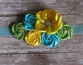 Yellow, light aqua blue and light green spring sash for baby shower or photography
