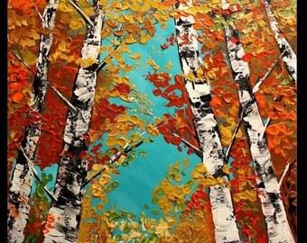 "SALE Oil Landscape painting Abstract Original Modern 36"" palette knife Birch Trees oil  impasto oil painting by Nicolette Vaughan Horner"