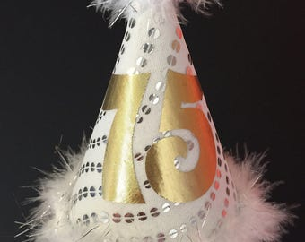 Party hat adult 75th birthday silver gold