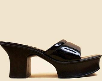 90s Y2k Vtg Jet Black Patent Leather Geisha Clog Mule Platform Slipper / Avant Garde Futuristic Sculptural GOTH Minimal Modern 10 Eu 42