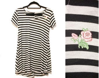 Jailbait Pink Rose Black White Stripe 90s Inspired Dress Made to Order