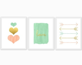 peach, gold and mint baby girl's nursery art, children's room, watercolor, hearts, love, arrows, set of 3, mix and match, custom colors