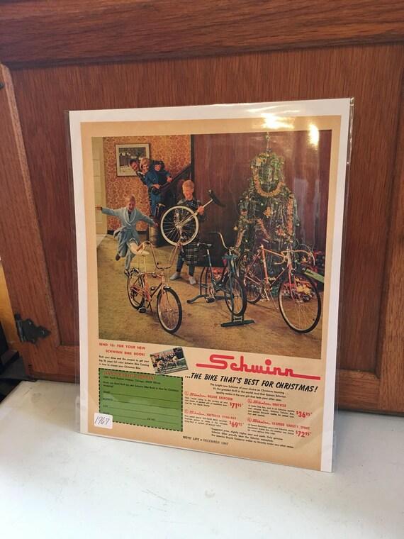 Original Dec 1967 Advertising Schwinn Bicycles Christmas Boys Life Magazine Ad w price list