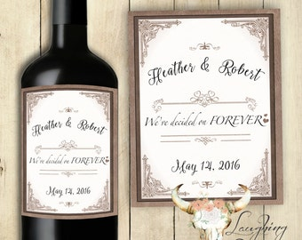 We've Decided on Forever Wine Label Engagement Party Wine Label Wedding Wine Label Save the Date Wine Label PRINTABLE