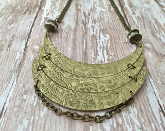 Bronze Statement Necklace, Bronze Bib Necklace, Antique Bronze Necklace, Tribal Necklace, Antique Brass Necklace, Antique Gold Jewelry
