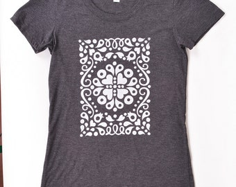 Charcoal & White Floral Filigree T-shirt, Handprinted
