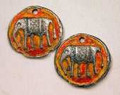 Elephant Charms, Rustic Pewter, Zen, Boho, Artisan Made Components, Hand Cast Pewter