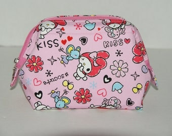 "Wire Frame Zipper Pouch/ Padded Cosmetic Bag Made with Japanese Cotton Oxford Fabric ""MY MELODY - KISS"" Size: Small"