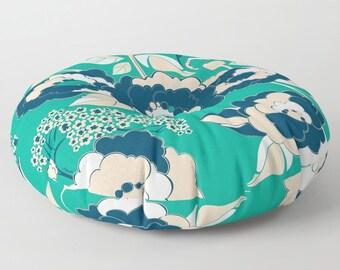 Pop Florals in Nautical Floor Cushion