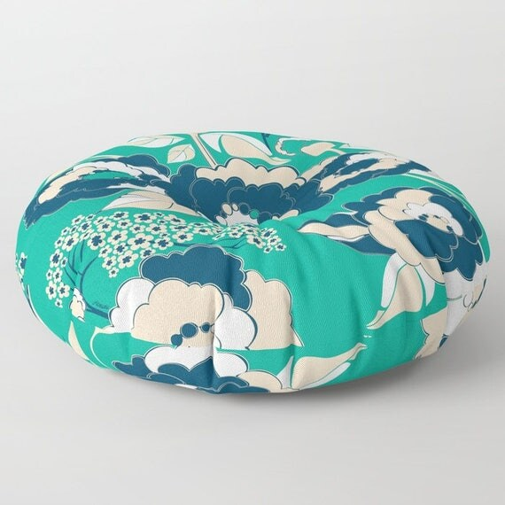 Pop Florals in Nautical Floor Cushion