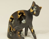 Hand Built, Ceramic Sitting Cat, - High Fired  -  please do not buy this item  - it is reserved for Joan Scott.