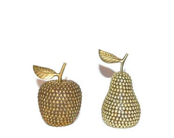 Vintage Brass Apple and Pear Studded Apple and Studded Pear Brass Apple Brass Pear Manzana Brass Apfel Brass Pomme