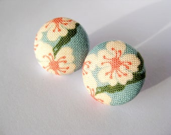Floral fabric covered button earrings in light blue, rust, green and peach