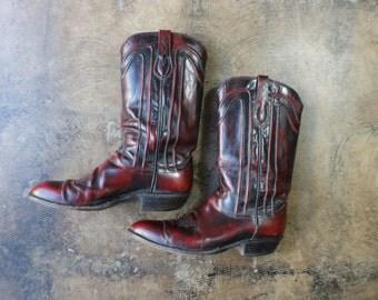 10 1/2 D Men's Cowboy Boots / Oxblood Leather Western Boots / Men's Vintage Shoes