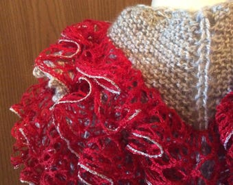 Silver and Scarlet, Red Heart Sashay, Silver Sparkle, Kerchief Shawl, Hand Knit, Picot Edge