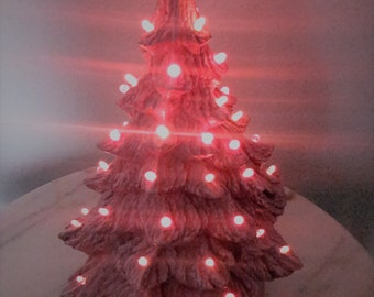Pink Ceramic Christmas Tree Red and Pink Lights Vintage Space Saver Christmas Decor