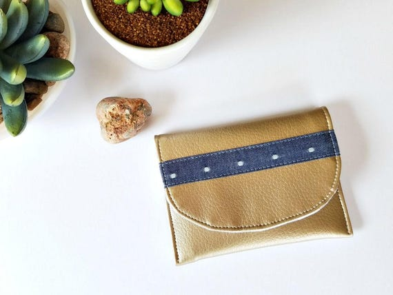 Gold Mini Wallet | Chambray and Gold Card Case for Business Cards, Memory Cards or a Small Wallet