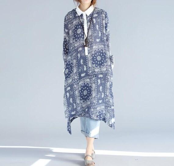 Spring linen long pullover shirt blue linen shirt