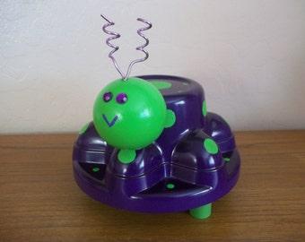 Hubcap Art Bug - Garden Art - Purple, and Green - Hub Bugz