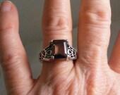 Vintage Smokey Quartz  Sterling Silver  Ring.....  Lot 4903