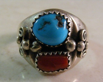 Vintage Signed Native American Sterling Silver Turquoise and Coral Ring.....  Lot 5113