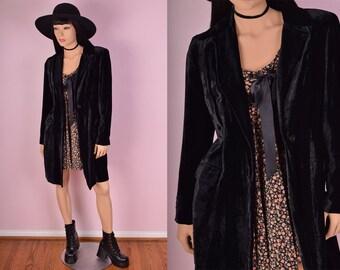 90s Black Velvet Coat/ US 8/ 1990s/ Jacket