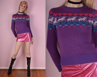 80s Unicorn Heart Print Sweater/ X-Small/ 1980s