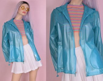 90s Blue Vinyl Hooded Jacket/ Small/ 1990s/ PVC