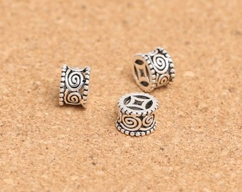 2pcs 925 Sterling Silver Beads,  8mm whirlpool logo antique silver beads, barrel silver beads