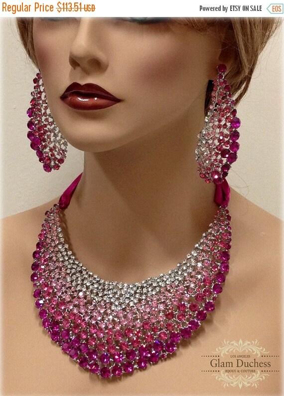 Bridal jewelry set wedding jewelry bib necklace by glamduchess for Pink wedding jewelry sets