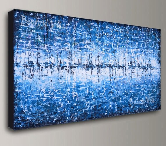 Abstract Painting Acrylic Art Blue Wall Art Home Office